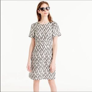 J. Crew silk grey and cream ikat print dress